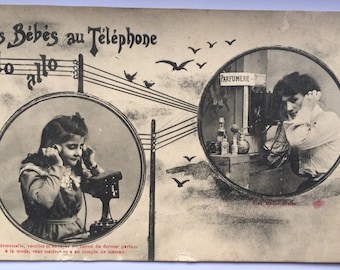 Antique round photographs of Children on the phone  Set of 3 postcards unused for scrapbooking