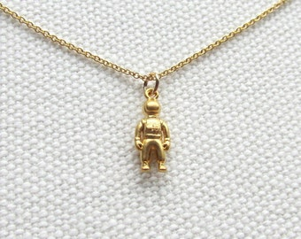 Gold Astronaut Necklace 14k Gold Filled Chain Tiny Spaceman Sci Fi Jewelry