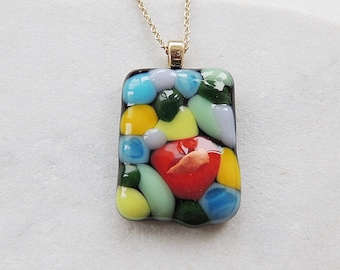 Fused glass necklace,rectangle colorful fused necklace,fused gifts,birthday gift