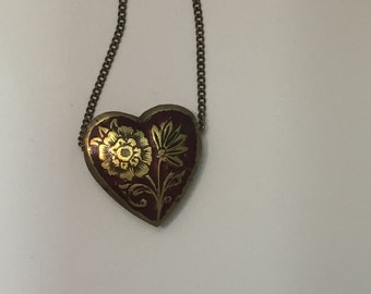 Red Heart Pendant with Flowers