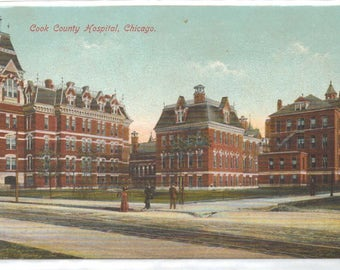 """Illinois, Vintage Postcard, """"Cook County Hospital, Chicago,""""  1910s. #1050."""