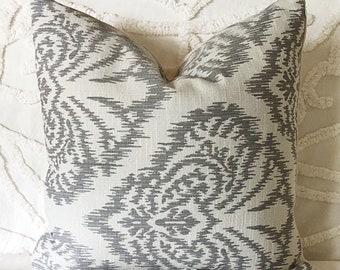 Grey Ikat pillow cover, damask cushion, cream ikat pillow, linen pillow, luxe decor, boho luxe pillow, grey linen cushion, traditional decor