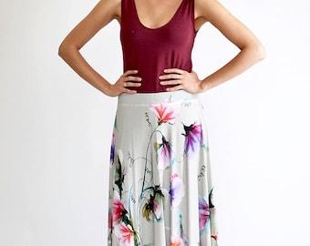 Floral Maxi Skirt, Bohemian Skirt, Festival Clothing, High Waisted Skirt, Long Maxi Skirt, White Long Skirt, Casual Skirt, Cotton Skirt