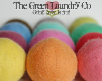 100% wool dryer balls, solid colored, handmade by Buddha Bunz