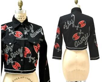 Vintage Sequin Jacket with Lady Bugs Black Denim Jacket Small Medium Modi // Vintage beaded Jacket with Lady bugs insects Black red White