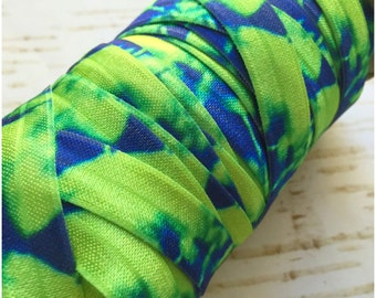 Tie Dye Fold Over Elastic - 5 Yards or 10 Yards - Neon Green & Royal Blue