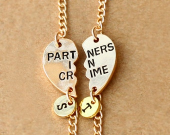 sister bracelet,  PARTNERS IN CRIME bracelet, initials friendship bracelet, best friends, best bitches, broken heart set, sisters jewelry