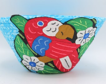 Mola Adorned coiled fabric basket