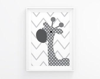 Gender neutral Nursery art - Giraffe nursery print - Nursery Printable - White and grey - Nursery wall art  - Nursery decor - Nursery poster