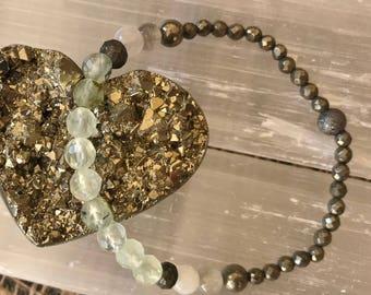 Prehnite and Pyrite Bracelet