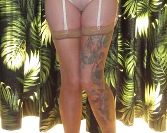 Vintage Ivory Victoria's Secret Garter Belt & Stocking Set S Pin Up mid century style rockabilly pinup boudoir mad men retro lace thigh high