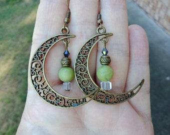 Jade Earrings Crystal Earrings Bronze Earrings Filigree Moon Earrings Boho Earrings Womans Earrings Dangle Earrings Beaded Earrings
