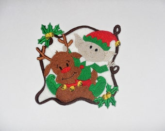 """Embroidered Iron On Applique """"Reindeer and Elf"""""""