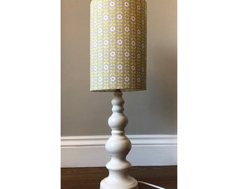 Yellow Retro floral Lampshade with Vintage White Ceramic base