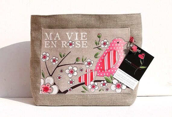 "Organizer of large model illustrated natural linen bag ""life in pink"""