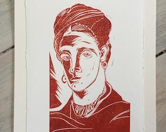 Frida Kahlo  - linocut print  (dark orange/rust)