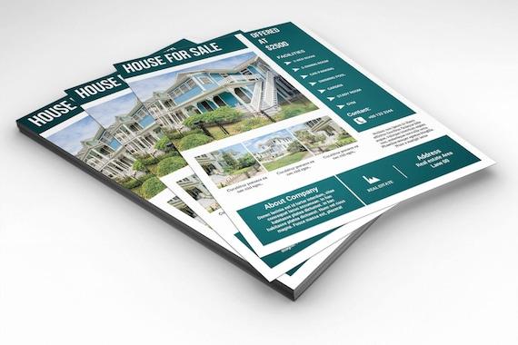 Immobilien-Flieger-Schablone Relator Flyer Photoshop und Ms