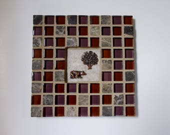 """Red Purple Marble Glass Stone Mosaic Tile Trivet with Bear and Tree 6"""" x 6"""""""