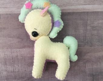 Felt Pony, Stuffed Felt Pony, Gingermelon Pony Doll