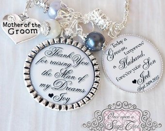 Mother of the GROOM Gift Personalized WEDDING Necklace-Thank you for Raising the Man of My Dreams-Today a Groom-Custom Wedding Jewelry-White