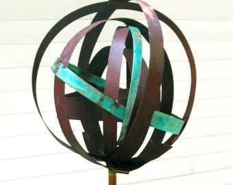 Sculptural Steel & Copper Bird Feeder No. 349 - Freestanding unique modern bird feeder garden globe