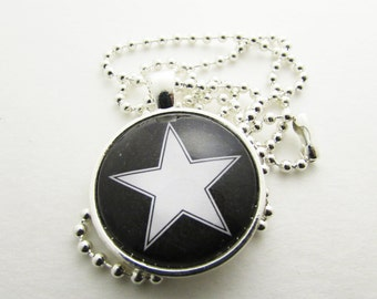 Pendant Necklace - Star Necklace - Personalized Necklace - Hand Stamped Letter Necklace