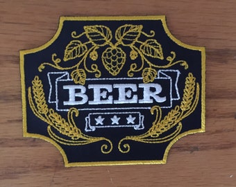 BEER Patch with Hop and Grain - Embroidered - Iron or Sew On
