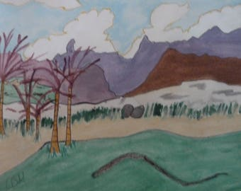 ON THE FAIRWAY- a small mixed media painting.