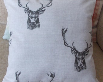 """Handmade Fryetts """"Stag"""" cushion pillow cover. Charcoal. 14"""", 16"""", 18"""" 20"""", 22"""",24"""""""