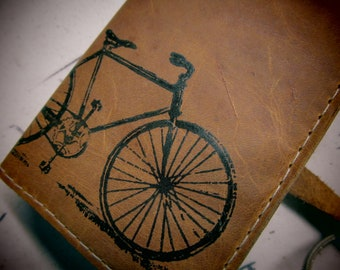 small leather sketchbook journal hand-printed for you bicycle