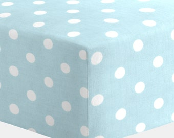 Gender Neutral Crib Bedding: Mist and White Polka Dot Crib Sheet by Carousel Designs