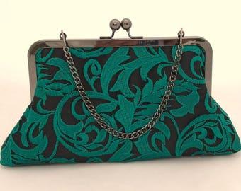 Emerald Green Lace Purse ~ Green Clutch ~ Emerald Green Handbag ~ Ready to Ship