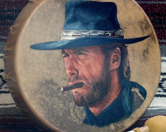 Handmade Hand Painted Native Style Hoop Drum - CLINT EASTWOOD