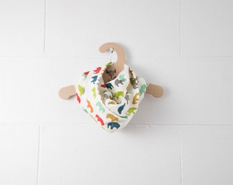 0-6x - CLEARANCE - Soft Lightweight 100% GOTS Certified Organic Cotton Scarf / Multi Coloured Elephants / Snap Closure at Back