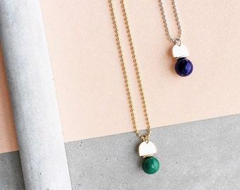 Gold Gemstone Arch Pendant / 14k gold filled ball chain / lapis, dark green malachite, sunstone, pearl