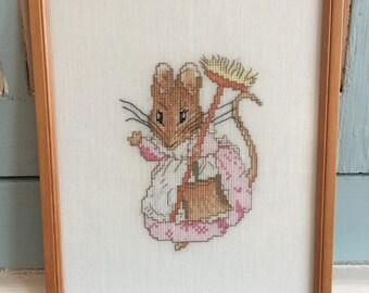 Handmade Framed Hunka Munka Beatrix Potter Cross Stitch  Nursery Decor