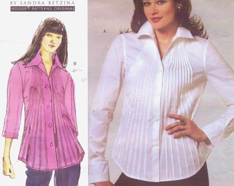 Todays Fit Sandra Betzina Womens Pleated Front Shirt OOP Vogue Sewing Pattern V1165 Size 10 to 28 Bust 32 34 36 38 40 43 46 49 52 55 UnCut