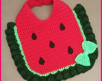 DIGITAL DOWNLOAD: PDF Crochet Pattern for the Watermelon Baby Bib