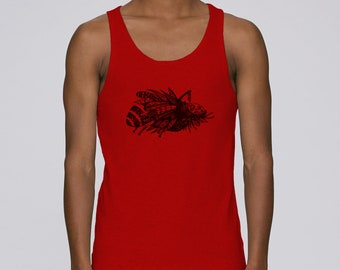 Man hand screen printed tank top / Insect / Red