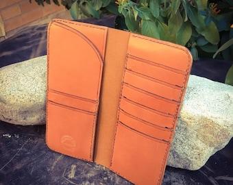 In Stock: Tan Veg Tan Leather Bifold Gentleman's Tall / Jacket Wallet