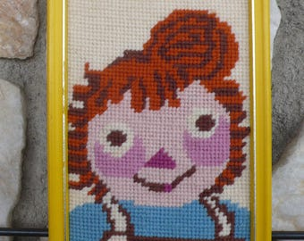 Vintage Raggedy Ann Needlepoint Embroidered Art Wall Hanging