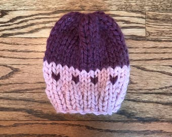 Knit Baby Hat - Plum & Pink Hearts