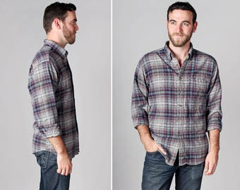 Vintage Men's Woolrich Plaid Shirt -Woven Country Retro 1970's Marroon Blue Teal Plaid Grey Gray Long Sleeve Top Button Up - Size Large