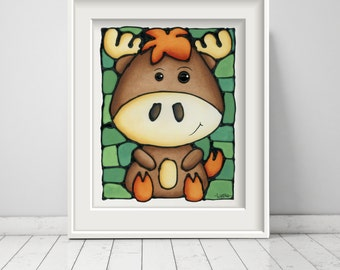 Moose Print - FREE Shipping - Woodland Nursery Decor - Forest Themed Animal Artwork - Cute Moose Picture - Baby Boy Bedroom Artwork