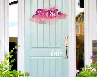 front door decal- decals- hello decal- welcome decal- front door sign- front door greeting- hello-