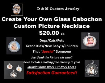 Custom Picture Glass Cab Neclace - Created w/ Your Custom Picture..FREE SHIPPING