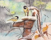 Chickadee In Snow Waterco...