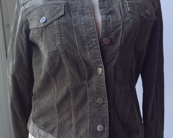 Eddie Bauer corduroy jacket. XL. Olive green cotton. Free Priority US shipping.