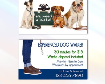 Dog walker card etsy dog walker business card 35x2 business card full color two sided colourmoves