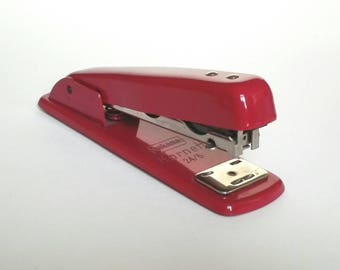 Vintage Cherry Red Office Stapler ~ Bukama Kornett 1960s Streamline Stapler - Vintage Office Desk Item